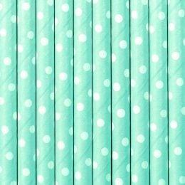 Καλαμάκια χάρτινα γαλάζια πουά (10 τεμ)