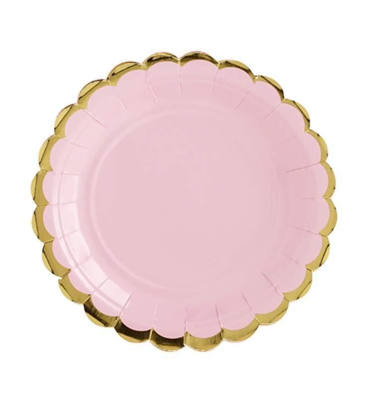Πιάτα πάρτυ μικρά ροζ με χρυσό (6 τεμ)