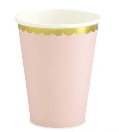 Ποτήρια πάρτυ ροζ με χρυσό (6 τεμ)