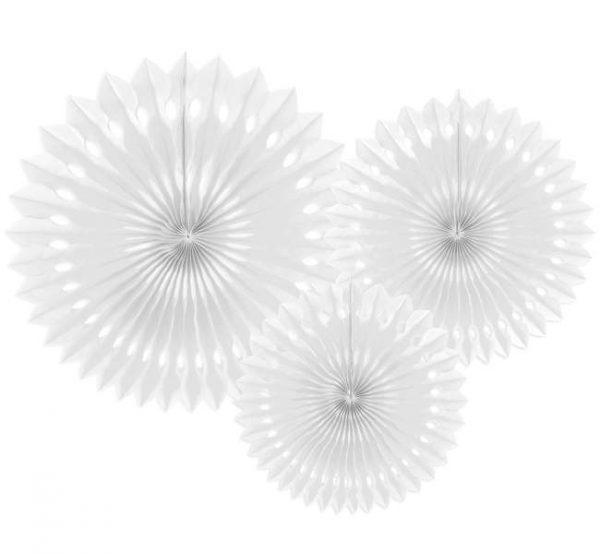 Σετ Λευκές χάρτινες βεντάλιες (3 τεμ)
