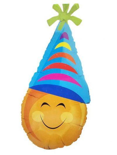 Μπαλόνι πορτοκαλί Φατσούλα με καπέλο