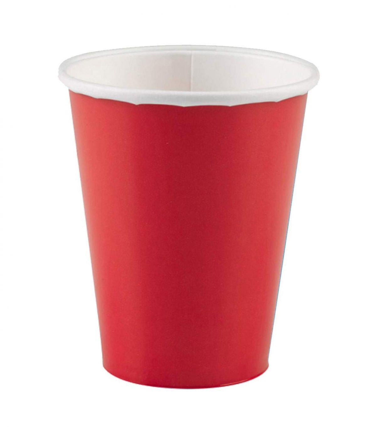 Ποτήρια πάρτυ χάρτινα κόκκινα (8 τεμ)