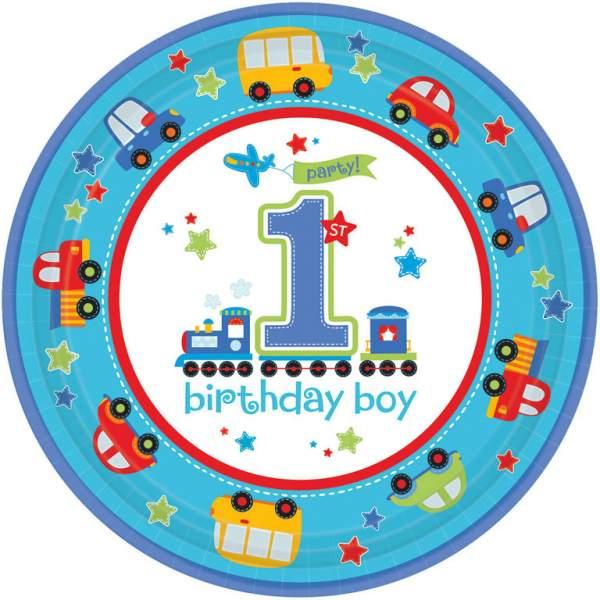 Πιάτα πάρτυ μεγάλα 1st birthday boy' (8 τεμ)