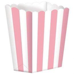 Κουτί Ποπ Κορν Ροζ με Ρίγες 1 τεμ.