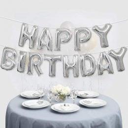Μπαλόνι γενεθλίων ''Happy Birthday'' Ασημί (13 τεμ)