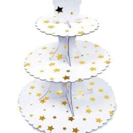 Βάση για Cupcake άσπρη με χρυσά Αστέρια