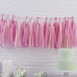 Ροζ μιξ γιρλάντα με φούντες (12 τεμ)