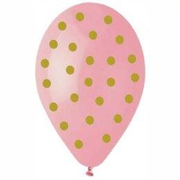 """12"""" Μπαλόνι Baby Pink με χρυσό πουά"""