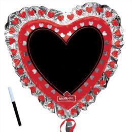 Μπαλόνι Καρδιά με μαύρο πινακάκι 91 εκ