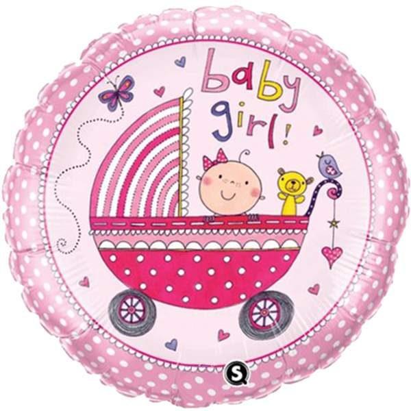 Μπαλόνι γέννησης Baby Girl καροτσάκι 45 εκ