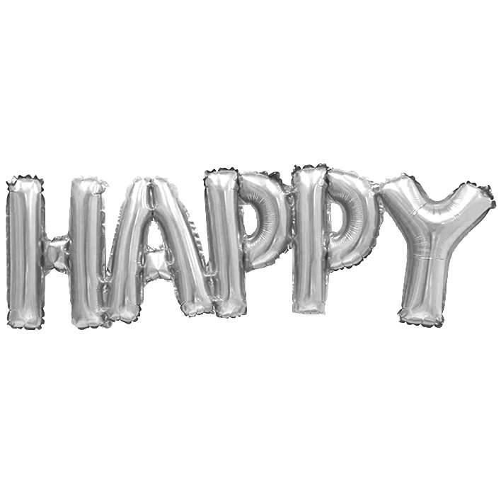 Μπαλόνι γενεθλίων 'Happy' Ασημί εννωμένη φράση