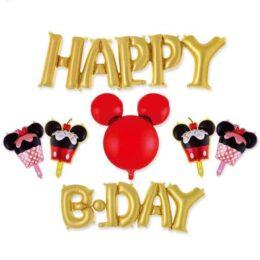 Σετ μπαλονιών Happy Bday χρυσό Mickey Mouse (7 τεμ)