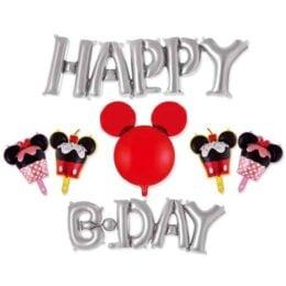 Σετ μπαλονιών Happy Bday ασημί Mickey Mouse (7 τεμ)