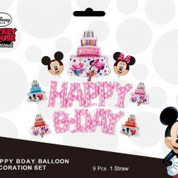 Σετ μπαλονιών Happy Bday ροζ Minnie Mouse (9 τεμ)