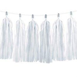Λευκή γιρλάντα με φούντες (12 τεμ)