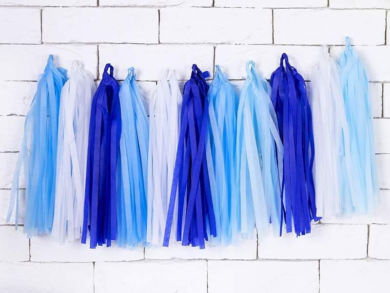 Μπλε μιξ γιρλάντα με φούντες (12 τεμ)