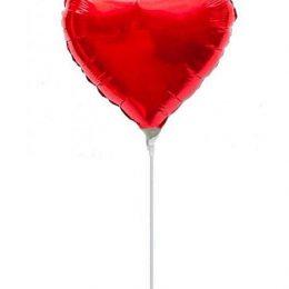 Μπαλόνι με καλαμάκι κόκκινη καρδούλα 23 εκ