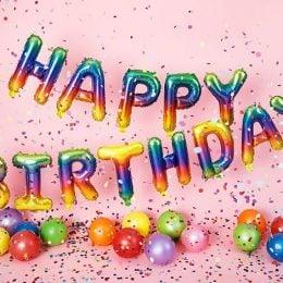 """Σετ μπαλονιών """"Happy Birthday"""" Rainbow Ombre (13 τεμ)"""