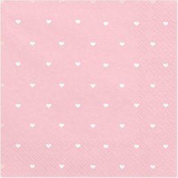 Χαρτοπετσέτες ροζ με καρδούλες(20 τεμ)