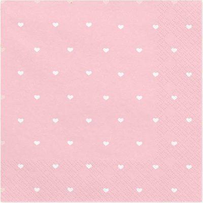 Χαρτοπετσέτες ροζ με καρδούλες (20 τεμ)