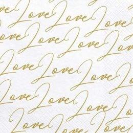 "Xαρτοπετσέτες λευκέςμε χρυσό ""Love"" (20 τεμ)"