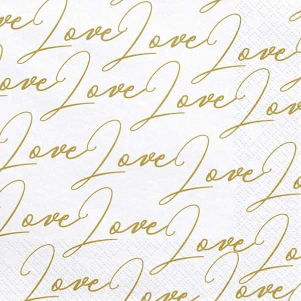 "Xαρτοπετσέτες λευκές με χρυσό ""Love"" (20 τεμ)"