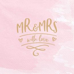 Χαρτοπετσέτες ροζ ''Mr & Mrs'' (20 τεμ)