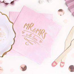"""Χαρτοπετσέτες ροζ """"Mr & Mrs"""" (20 τεμ)"""