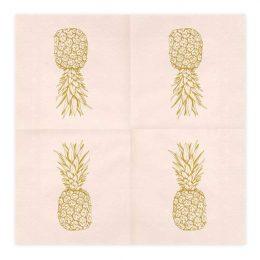 Χαρτοπετσέτες ροζ με χρυσό ανανά (20 τεμ)