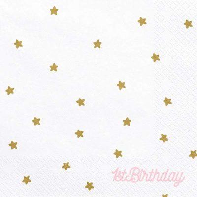 Xαρτοπετσέτες λευκές με αστέρια 1st Birthday (20 τεμ)