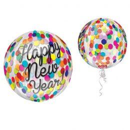 """Μπαλόνι """"Happy New Year"""" κομφετί ORBZ 45 εκ"""