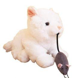 Άσπρο Γατάκι με ποντικάκι στο στόμα