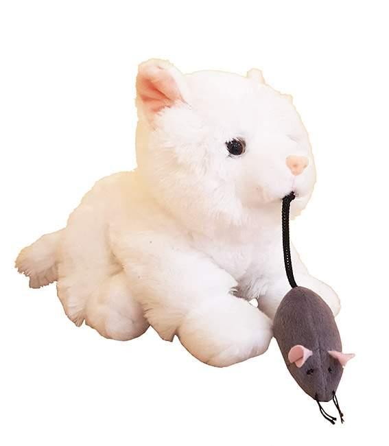 Μαλλιαρό άσπρο Γατάκι με ποντικάκι στο στόμα