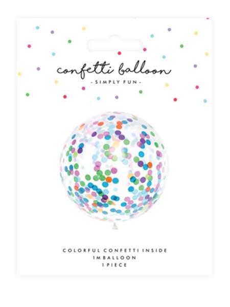 Τεράστιο μπαλόνι γεμισμένο με πολύχρωμο κονφετί