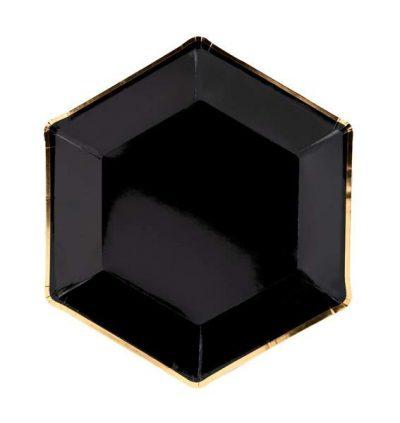 Πιάτα πάρτυ Μαύρα με χρυσό (6 τεμ)