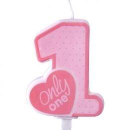 Κεράκι γενεθλίων '1' only one ροζ