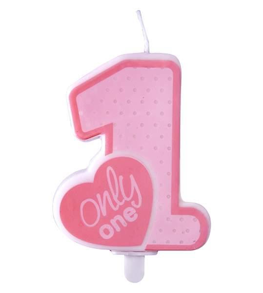 """Κεράκι γενεθλίων """"1"""" Only One ροζ"""