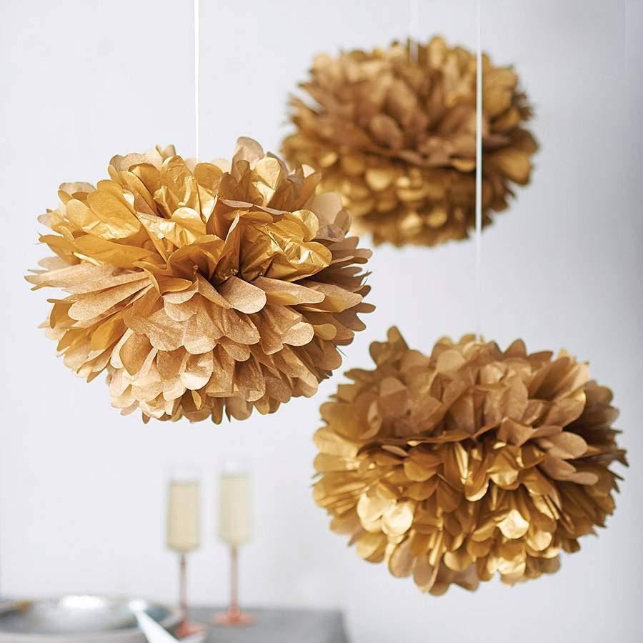 Χρυσό χάρτινο pom pom