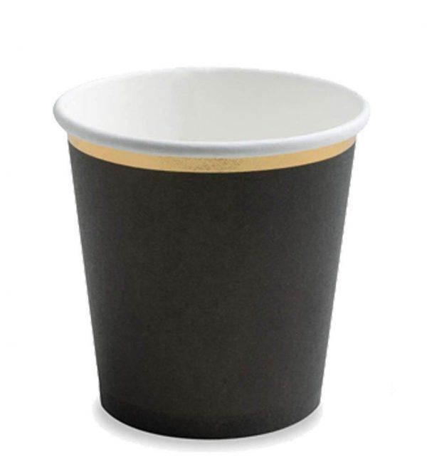 Ποτήρια πάρτυ μαύρο με χρυσό (6 τεμ)