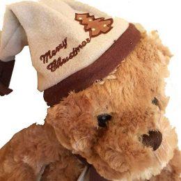 Χνουδωτό Αρκουδάκι με σκουφάκι & κασκόλ Merry Christmas