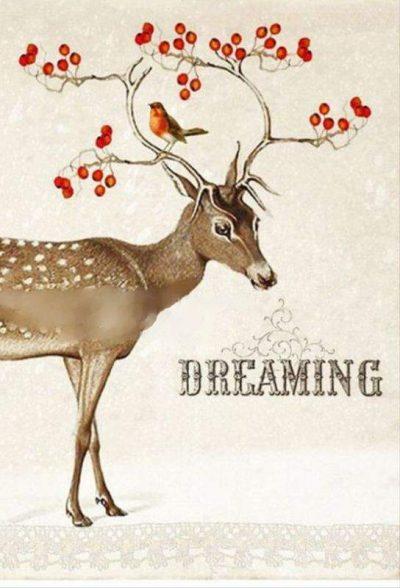 Χριστουγεννιάτικη κάρτα Τάρανδος dreaming