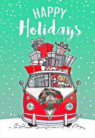 Χριστουγεννιάτικη κάρτα βανάκι γεμάτο με δώρα