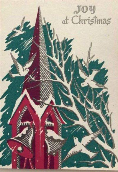 Χριστουγεννιάτικη κάρτα vintage καμπαναριό