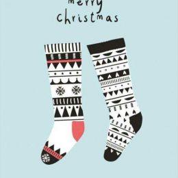 Χριστουγεννιάτικη κάρτα κάλτσες merry Xmas