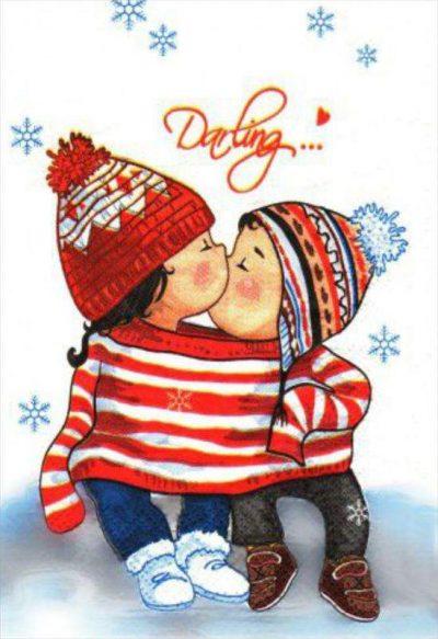 Χριστουγεννιάτικη κάρτα hugs & kisses