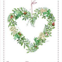 Χριστουγεννιάτικη κάρτα στεφάνι καρδιά