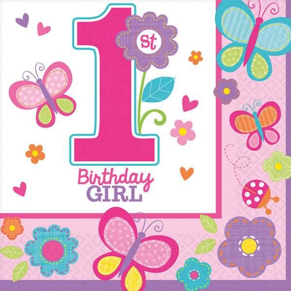 Χαρτοπετσέτες 'Πρώτα γενέθλια' κοριτσάκι (16 τεμ)