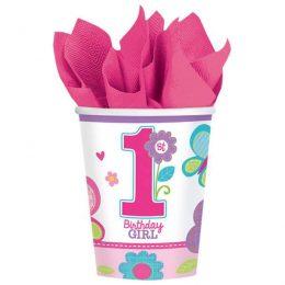 Ποτήρια πάρτυ 1st birthday girl (8 τεμ)