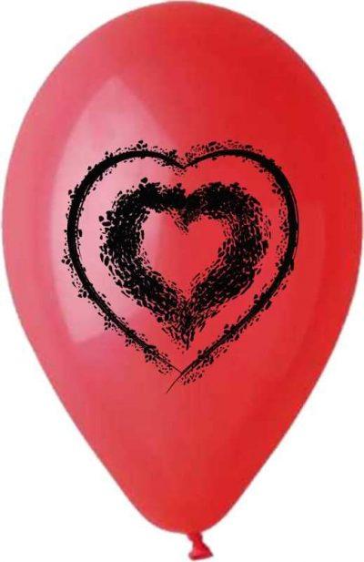 """12"""" Μπαλόνι τυπωμένο Κόκκινο με μαύρη καρδιά"""