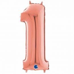 Τεράστιο Μπαλόνι 100 εκ Ροζ Χρυσό Αριθμός 1